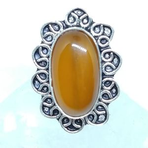 Huge Real Carnelian Ornate Silver Ring sz 10
